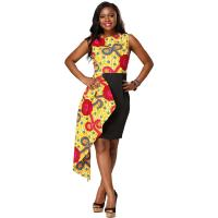 Wholesale Fashion Contracted Irregular African Print Dresses Lady Batiks Sleeveless Dress from china suppliers