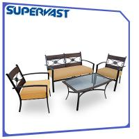Wholesale 5PC Outdoor Garden Steel Patio Furniture Woven Webbing Strap Set with Ottoman from china suppliers