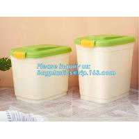 Wholesale wheelie plastic airtight set 3-piece pet food container, 20KG 53L pet food pp plastic box container for storage, bagease from china suppliers