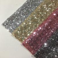 Wholesale Modern Silver Sequin Fabric , Sequin Lace Fabric Sparkly Mesh Garment Applied from china suppliers