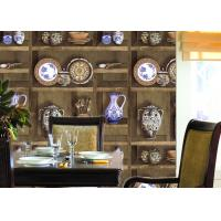 Wholesale Chinese Classical Dining Room Wallpaper , Vase Pattern vinyl coated wallpaper SGS Test from china suppliers