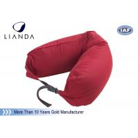 Wholesale Promotional Gift Red Memory Foam Pillows For Car / Train , Microbeads Material from china suppliers