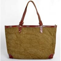 Wholesale designer brand handbags in canvas with durable leather handle and edge from china suppliers