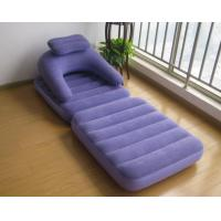Wholesale Flocking PVC inflatable Loungers Lazy Sofa Living Room Bean Bag Chair flocked air sofa for break in office with pillow from china suppliers