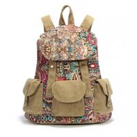 Wholesale Women's Vintage colorfull prints School Bag Canvas Backpack Rucksack Satchel Travel Bag from china suppliers
