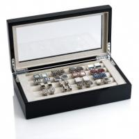 Wholesale Luxury Black Leather Cufflink Box For Window Display 150*100*60 from china suppliers