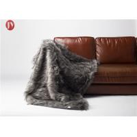 China Silver Gray Plush Fur Faux Throw Blanket Wolf Home Accents Eco - Friendly on sale
