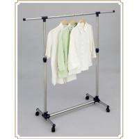 Quality Telescopic Single Pole Clothes Rack / Movable Clothing Drying Hanger with Wheels for sale