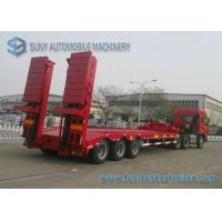 Wholesale 80 T Hydraulic Ladder 3 Axles Lowbed Semi Trailer , heavy duty flatbed trailer from china suppliers