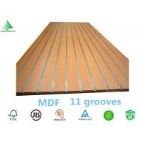Wholesale Guangzhou E2/E1 1220X2440X15MM supermarket display melamine MDF faced slatwall panel from china suppliers