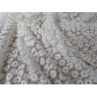 Wholesale Daisy Small Flower Nylon Mesh Fabric By The Yard , Off White Lace Fabric For Dresses from china suppliers