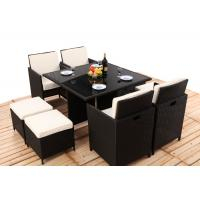Wholesale 8CM Thickness Cushion Rattan Dining Table And Chairs 4PCS Ottoman Covered from china suppliers