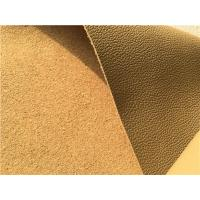 Beige Leather Auto Upholstery Material , Flocking Car Seat Upholstery Fabric