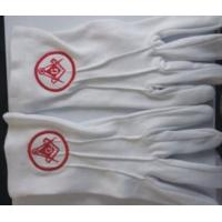 Wholesale Custom Free Size Embroidery Logo Masonic White Cotton Gloves from china suppliers