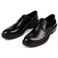 Quality Handmade Footwear Mens Black Lace Up Dress Shoes Comfortable With Thick Platforms for sale