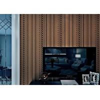 Buy cheap Brown Sound Absorbing Contemporary Wall Paper with Stripes Pattern , Flocking Surface Treatment from wholesalers