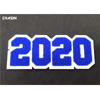 China 3D Custom Sew On Letterman Patches / 2020 Number Chenille Back Patches for sale