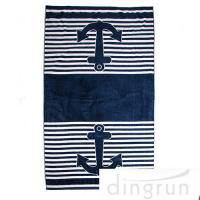 Wholesale Marine Anchor Custom Printed Beach Towels 100% Cotton Velour Soft Touch from china suppliers
