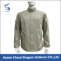 Wholesale Beige Twill Long Sleeve Work Shirts / Mens Military Shirt With Many Pockets , CNAS Approved from china suppliers