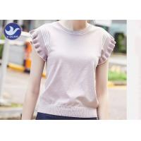 Wholesale Sweet Ruffle Drop Short Sleeves Womens Knit Pullover Sweater Stripes Summer from china suppliers