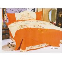 Wholesale 100 % Cotton Bedroom Orange Decorative Embroidered Queen Bedding Set from china suppliers