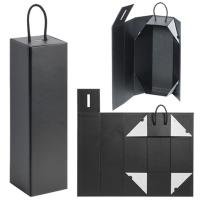 China Cardboard Foldable Gift Box / Leatherette Wine Bottle Packaging With Magnet Closure on sale