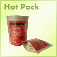 Quality 15C Zipperlock Kraft Stand Up Pouches For Chilli / Milk Powder / Chilli Powder / Rice / Dry Food for sale