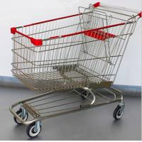 Wholesale Steel Grocery Carts On Wheels American Style Chromed Metal Shopping Baskets from china suppliers