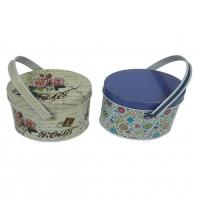 Wholesale Flower Print Small Tin Containers For Candy Packaging / Tinplate Handle Tin Boxes from china suppliers