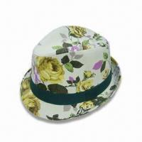 Wholesale Ladies Fedora/Hat in All-over Printed Fabric, Made of 100% Cotton and Various Colors are Available from china suppliers