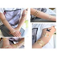 Quality Body Art Metallic Tattoo Stickers , Fake Golden Temporary Tattoo Sticker for sale