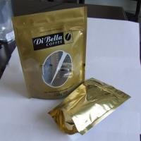 Wholesale Coffe / Tea Moistureproof Stand Up Pouch Bag Plastic Golden Oval Window from china suppliers