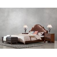 Wholesale American leisure style Split Leather Upholstered Headboard Kind Bed with Wooden Furniture for Villa house Bedroom used from china suppliers
