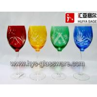 Wholesale Multi-color red wine glasses, engraved,cutting, red, amber, green,cobalt, china factory from china suppliers