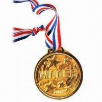 Wholesale Gold Winning Medal with Ribbon, Various Finishes Available, Customized Artworks Welcomed from china suppliers
