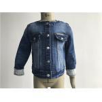 China Popular Kids Denim Jacket / Collarless Medium Wash Denim Jacket TW78605 for sale