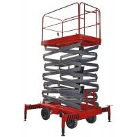Four Wheel 11 Meters Mobile Scissor Lift , Industrial Scissor Lift Platform 300 Kg Loading