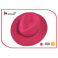 Wholesale Rose Red Wool Felt Top Hat Black Thin Ribbed Band Felt Fedora Hats For Women from china suppliers