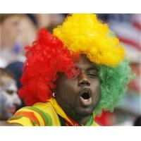 Wholesale Red Yellow Green Synthetic Afro Guinea Football Sports Fan Wigs from china suppliers