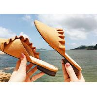 Wholesale Low Heel Comfortable Clogs And Mules Supper Fiber Upper With Ruffles Around from china suppliers