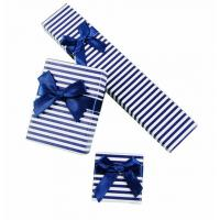 Wholesale Blue Stripe Personalised Jewellery Gift Boxes For Necklace And Earrings from china suppliers