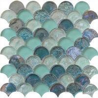 Wholesale Light green wall background water waving glass mosaic from china suppliers