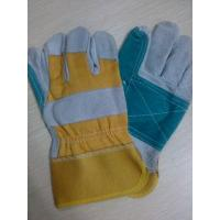 "Wholesale 10.5"" Reinforced Double Palm cow Leather Safety protective Gloves from china suppliers"