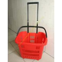 Wholesale HDPE Hand Rolling Shopping Basket On Wheels For Supmermarket , 25kg Capacity from china suppliers