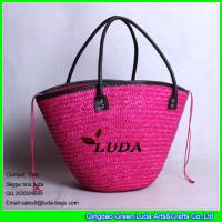 Wholesale LUDA lady top drawstring handbags rose red wheat straw tote bag for 2016 summer from china suppliers