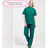 Stand Collar Scrubs Medical Uniforms , Short Sleeve Cotton Green Surgical Gown for sale