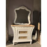 Quality PVC Golden Painting Embossing Floor Standing Bathroom Cabinet With Mirror for sale