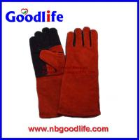 Wholesale Red Color Safety Gloves,Cow Split Leather Work welding Glove from china suppliers