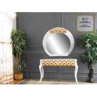 Quality European French Makeup Narrow Console Table With Framed Mirror for sale