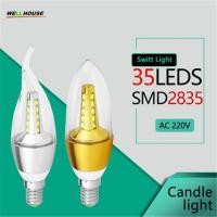 Wholesale LED Bulb Candle Light Spotlights ampolletas led E14 SMD2835 5W 7W AC 220V 240V Cold Warm White Chandelier Lamps from china suppliers